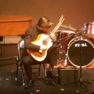 Mike (18) playing an original piece at his last performance at Lehigh Valley Charter High School for the Arts